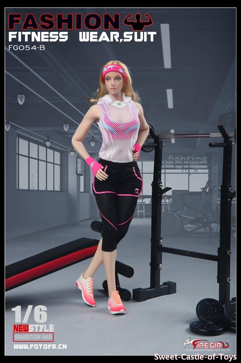 1/6 Fire Girl Toys FG054B Female Fashion Fitness Wear Rosa Set For Phicen