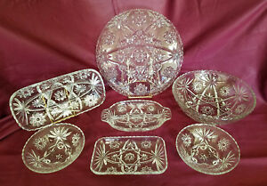 Image Is Loading Vintage Anchor Hocking Prescut Clear 7 Piece Serving