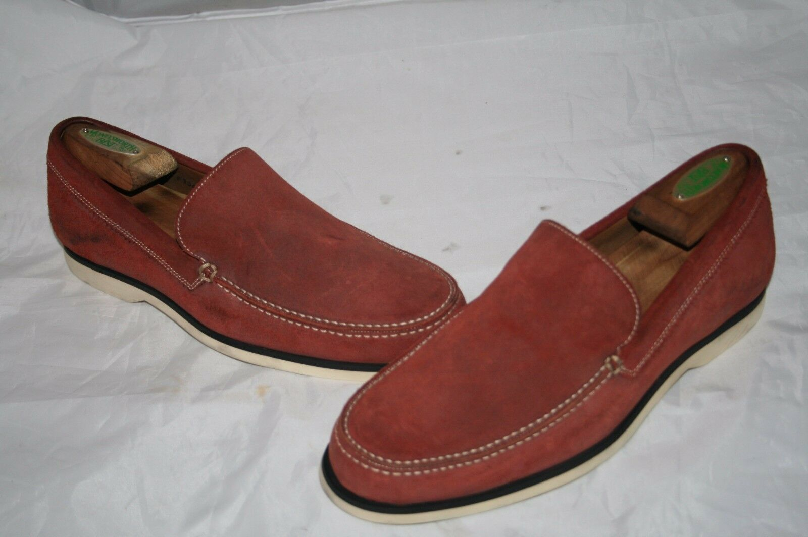 John Varvatos Monaco Suede Red Boat Loafers shoes Size 8 g14
