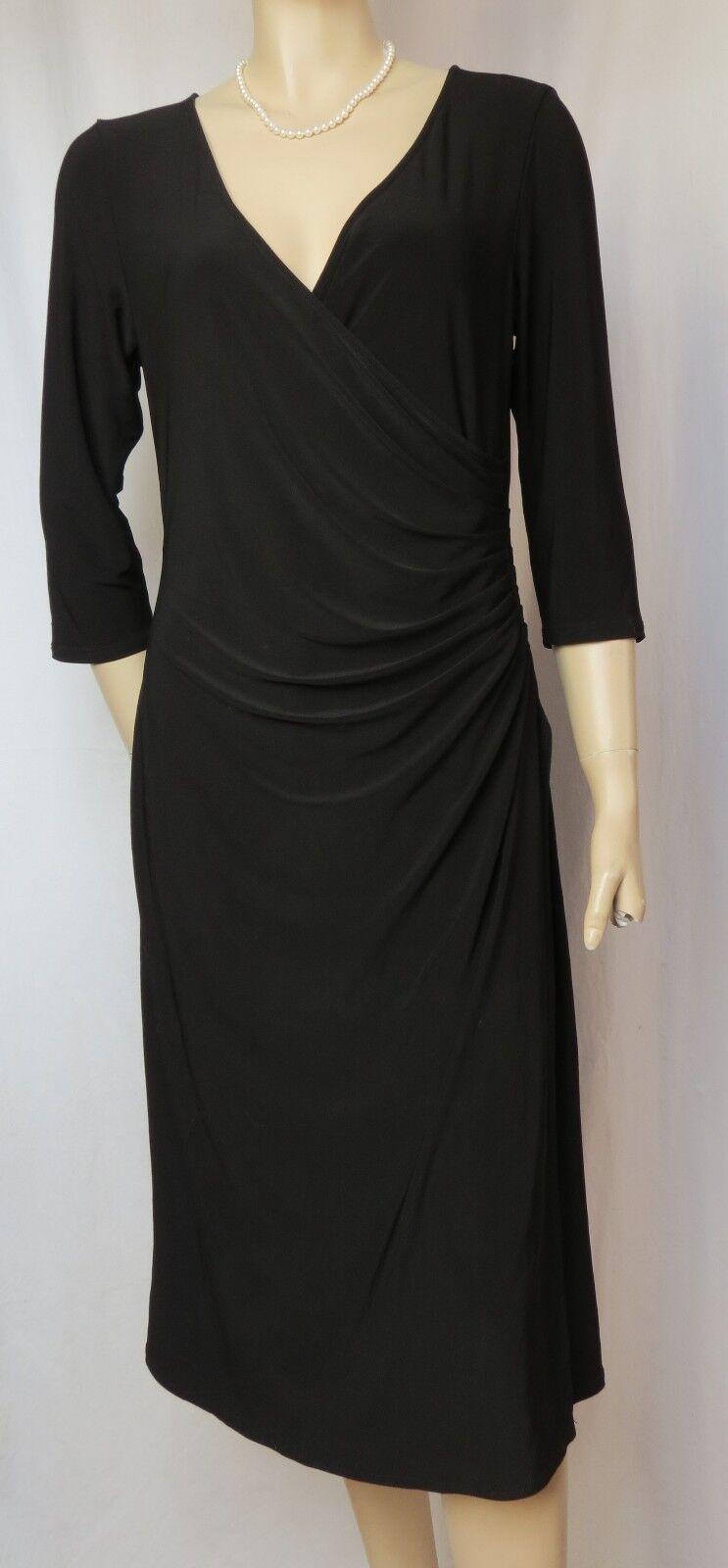 Laura Ashley Jerseykleid 40 schwarz uni Wickel-Optik Jersey Hochzeit Chor