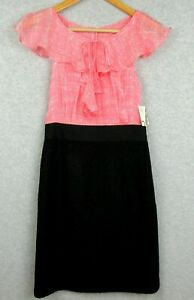 New-Milly-New-York-Womens-Size-2-Dress-Silk-amp-Wool-Blossom-Pink-Black-NWT-350