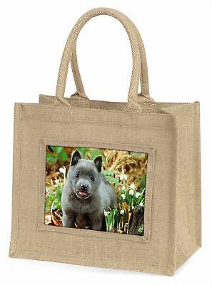 blau Schipperke Hund große natürliche jute-einkaufstasche Weihnachtsgeschenk