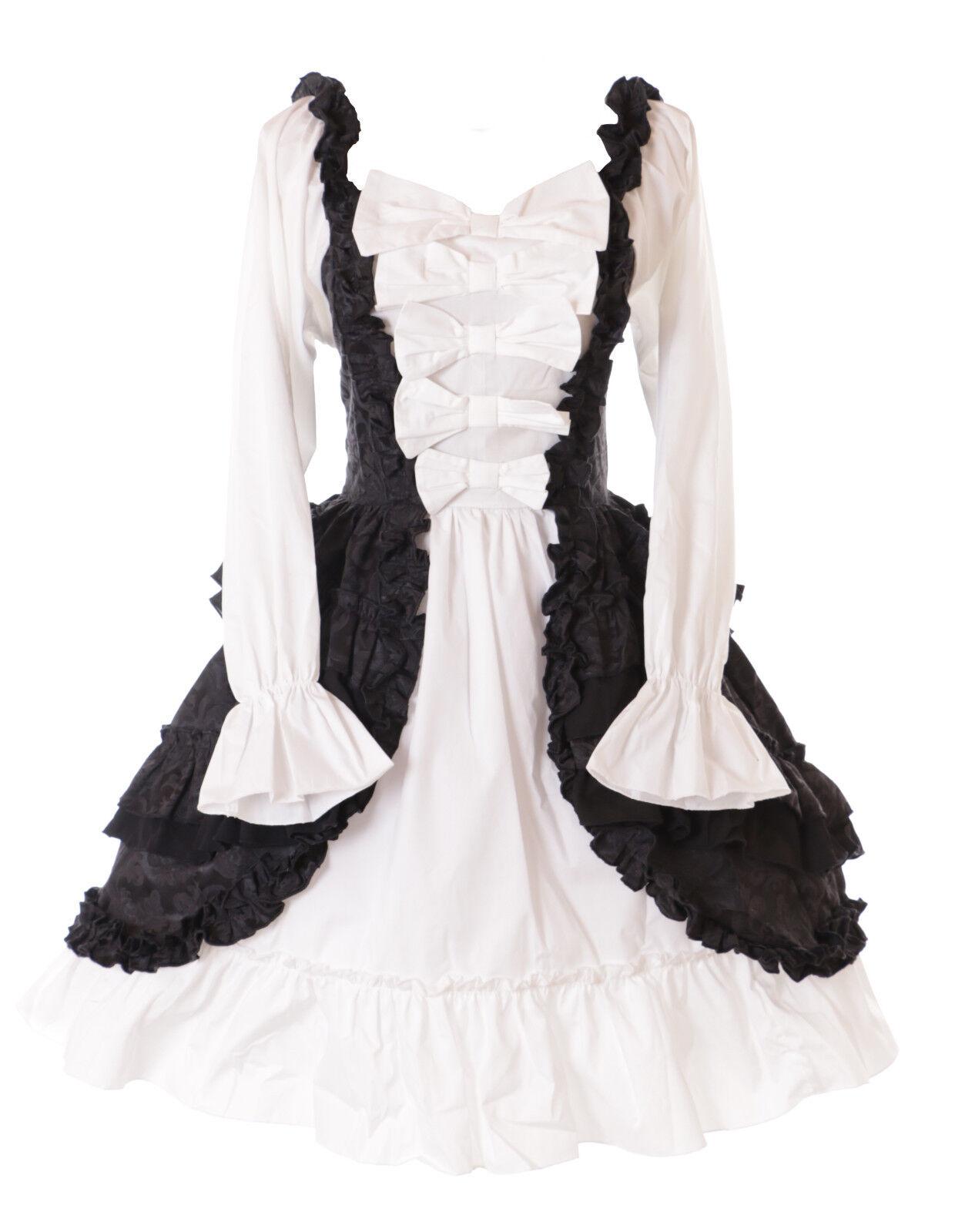 JL-664 Langarm Rüschen Schleifen Kleid Ornament schwarz weiß Victorian Gothik
