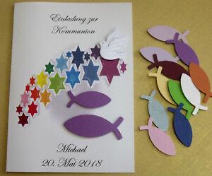 Details Zu Einladung Einladungskarte Regenbogen Sterne Fische Taufe Konfirmation Kommunion