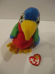 67be566860f Ty Beanie Baby Jabber Parrot Plush Stuffed Animal Retired W Tag ...