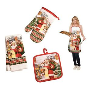 Santa-Christmas-Holiday-Kitchen-Home-Decor-Set-Oven-Mitt-Towel-Pot-Holder-Apron