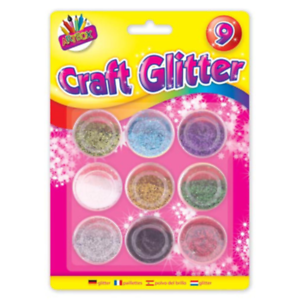 Pack of 9 Metallic Colour Glitter Pots Kids Arts and Craft-6090