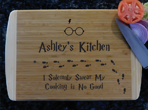 harry potter inspired custom laser engraved two tone cutting board