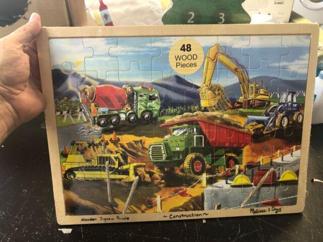 Puzzle Construction Site 48 pieces of wood 37x27 cm Construction Vehicles Truck Children laying Puzzle