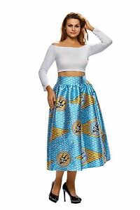 designer fashion 526de 683ed Dettagli su Gonna Campana stampata Africana Tribale Cocktail Party Ballo  Print Midi Skirt M
