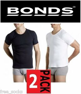 MENS-BONDS-2-PACK-RAGLAN-ROUND-CREW-NECK-COTTON-T-SHIRT-WHITE-BLACK-TEE-TOP-SIZE