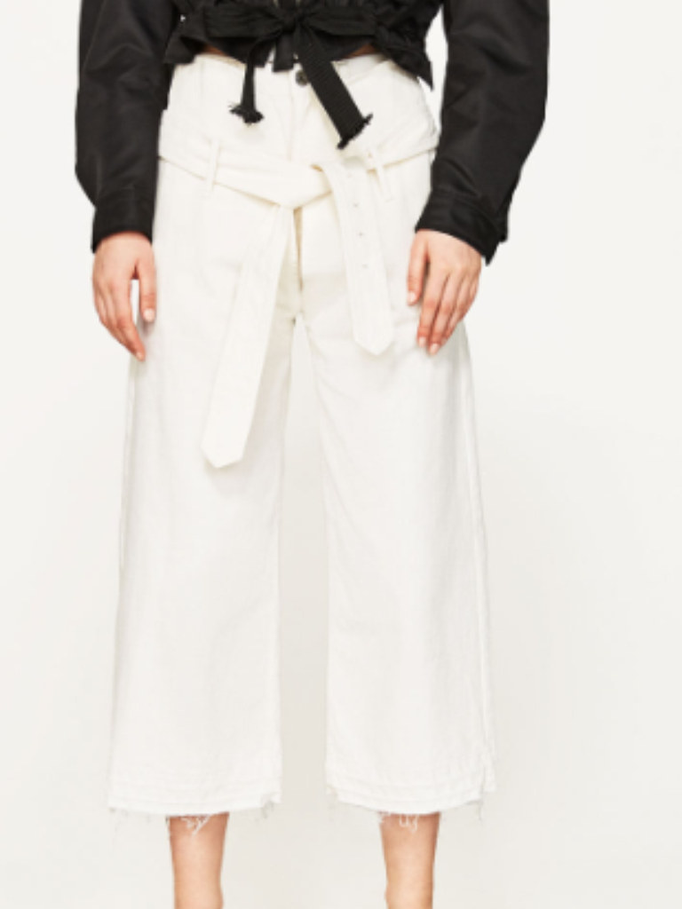 ZARA GENUINE STUDIO TROUSERS WITH BELT BNWT  L blanc BLOGGERS FAVE