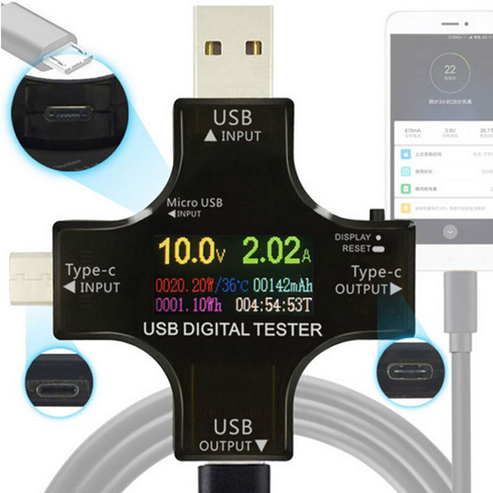 USB-C Power Tester Type C USB Tester Digital Multimeter Voltage Current Meter Ef Cables & Adapters