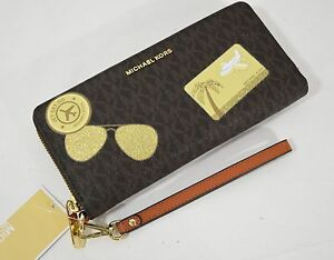 6cdd057b0598 Image is loading NWT-Michael-Kors-Illustrations-Fly-Away-Continental-Wallet-