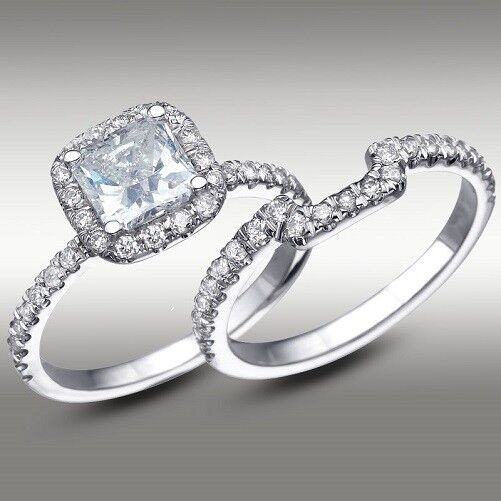 3 40 Ct Cushion Cut Engagement Ring Matching Wedding Band 14k White Gold New