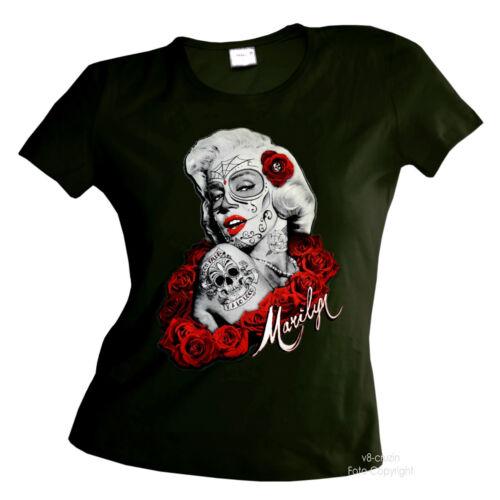 2090 Olive * Gothique tatouage Marilyn punk tete de mort biker muerte Femmes Girl shirt
