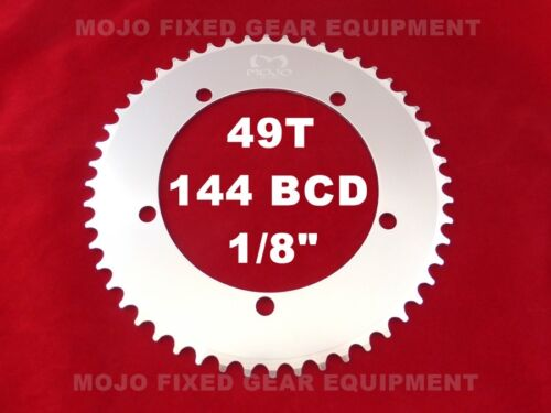 """144 BCD Track Fixie single speed 1//8/"""" MOJO Fixed Gear Chainring 49T SILVER"""
