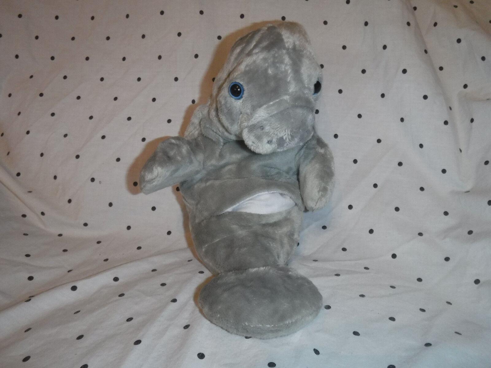 2003 Wishpets Mandy Manatee Hand Puppet 14  Plush Soft Toy Stuffed Animal