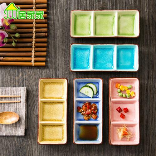 3 Cells Ceramic Serving Dishes Plate Saucer Salad Jam Holder Kitchen Dinnerware