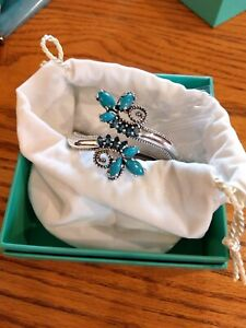 NIB-Carolyn-Pollack-Turquoise-amp-London-Blue-Topaz-Bypass-Sterling-Small-Cuff