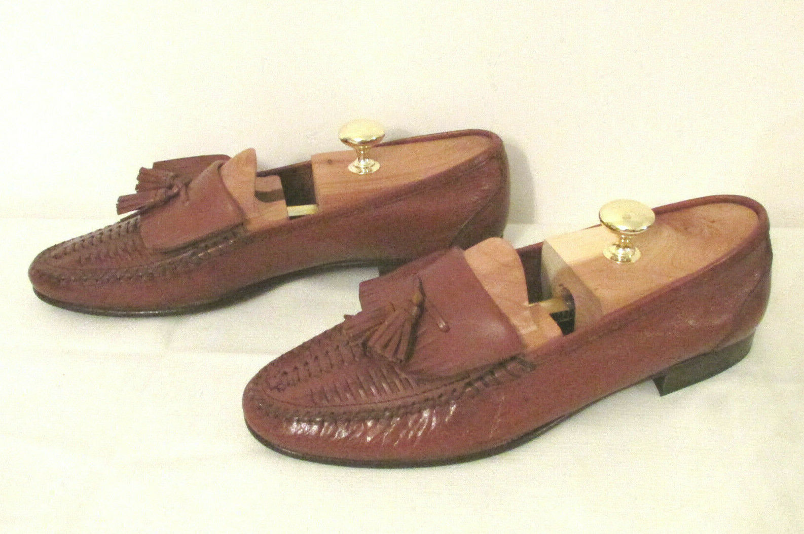Bruno Magli PENN Brown Leather Loafers 9 M Tassels Fringe shoes Hand Made