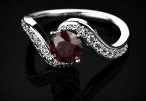 1-6ct-Round-Cut-Red-Garnet-Engagement-Ring-14k-White-Gold-Finish-Swirl-Solitaire