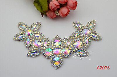 1 pcs AB crystal rhinestone costume dress applique Iron on hotfix sew on A2035