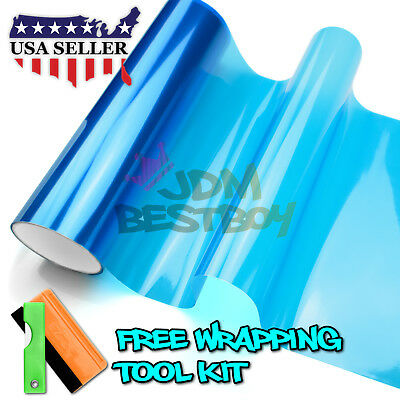"*12/""x120/"" Glossy Dark Blue Tint Headlights Fog Lights Taillight Vinyl Film"