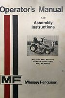 Massey Ferguson 1450 1650 Garden Tractor & Mf 4810 5405 Mower Owners Manual 46p