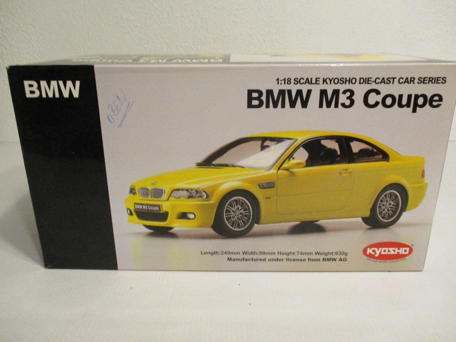 ( Gok Gok Gok ) 1 18 Kyosho BMW M3 Coupé Amarillo Nuevo Emb. Orig. 0a69f8