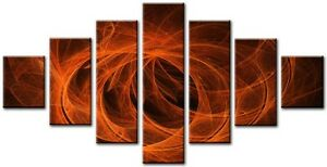 7-Panel-Total-Size-160x90cm-Large-Digital-Print-Canvas-Wall-Art-SPHERE-Orange