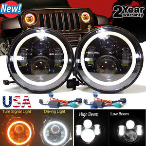 2x 7Inch LED Headlights Projector with Turn Signal DRL for Jeep Wrangler JK TJ