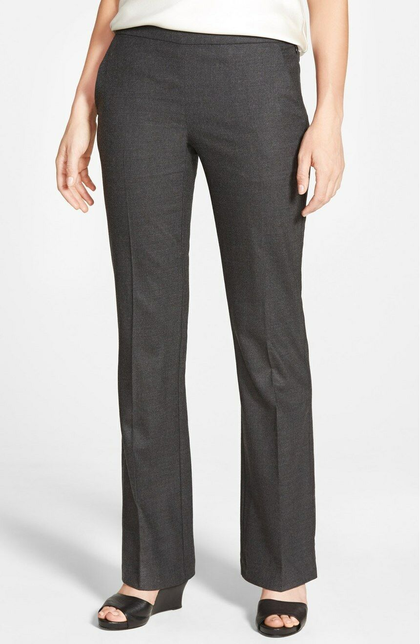 NWT EILEEN FISHER Charcoal Stretch Wool Bootcut Trousers Pants size 4