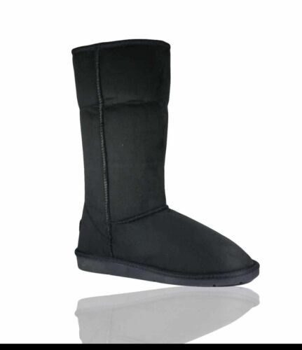UK Ladies Girls Faux Suede High Mid Calf Fur Classic Winter Boots Shoes Size 3-8