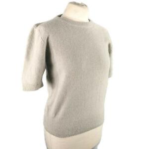Muji-Size-3-UK-10-12-Grey-Short-Sleeve-Round-Neck-Wool-Angora-Fitted-Jumper-NEW