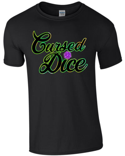Cursed Dice D20 Roleplay Dice Tabletop Gamer Mens D/&D Gaming T-Shirt