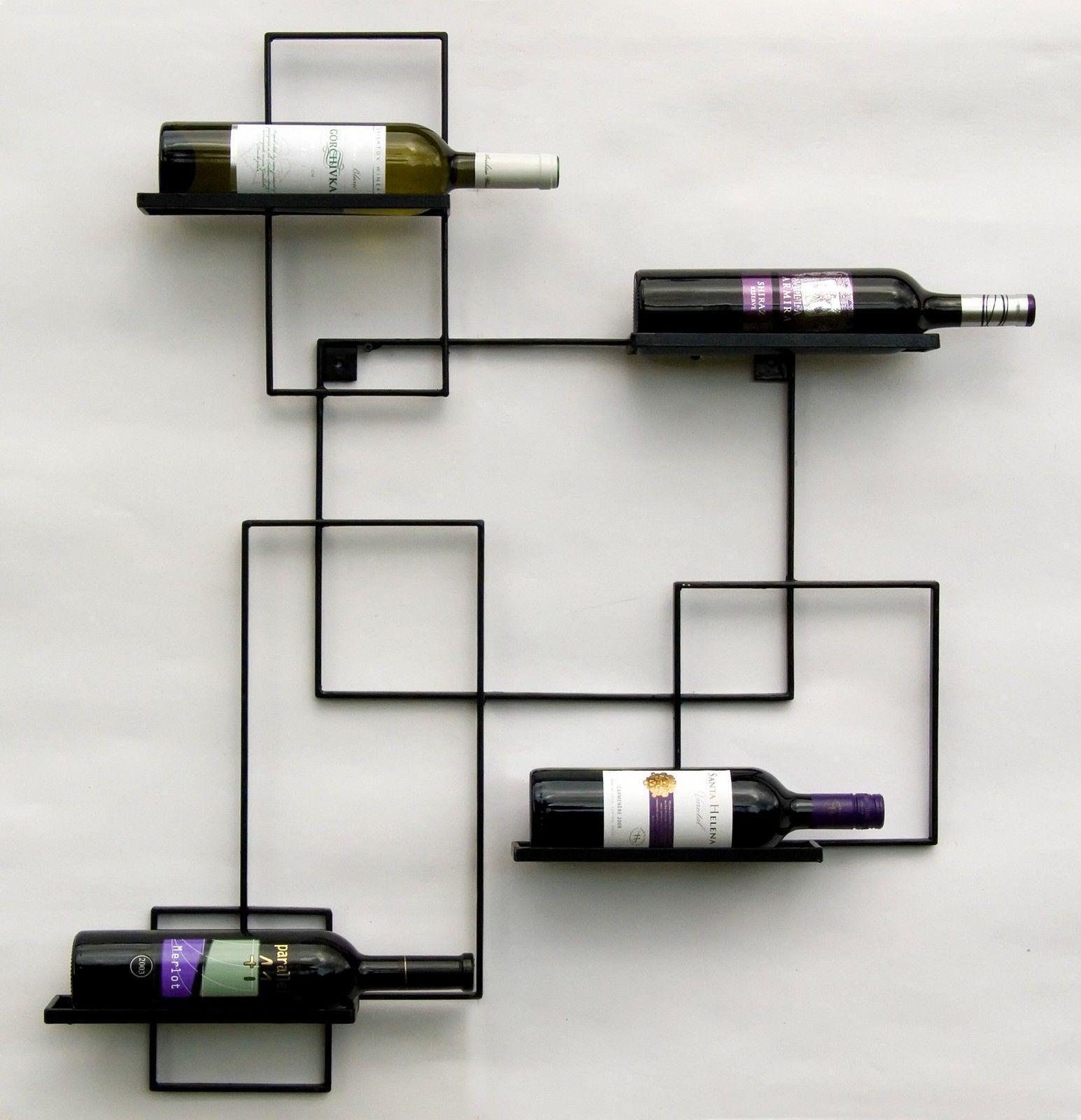 Vino scaffale in metallo muro nero LINE Bottiglie Scaffale 90 cm Bottiglie Supporto Nero