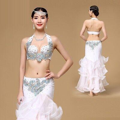 Professional Belly Dance Costume 3pcs set Bra Top+Hip Belt+Long Skirt Beaded