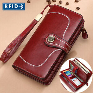 Genuine-Leather-Women-039-s-Long-Clutch-Wallet-RFID-Blocking-ID-Card-Holder-Vintage