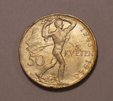 Silbermünze 50 Koron Korun Korún 5 Kveten 1945-1948  Tschechien 0.500 10g (A9)