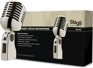 NEW-Stagg-MD-007CRH-Dynamic-50-039-s-60-039-s-Style-Vintage-Classic-Chrome-Microphone