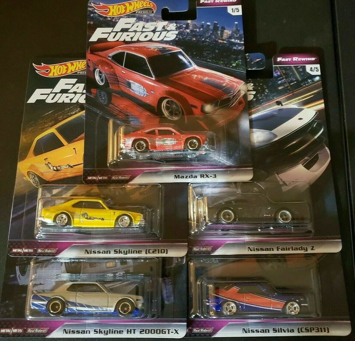 HOTWHEELS FAST & FURIOUS REWIND FULL SET OF FIVE ALLOYS RUBBER TYRES `,.\\\\