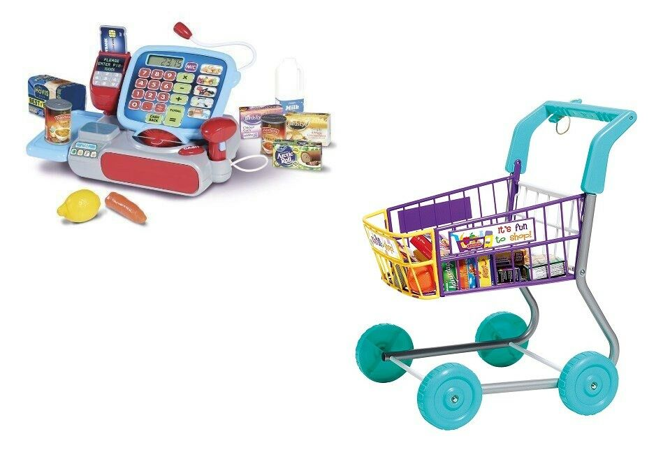 Casdon Shopping Trolley & Cash Register Till Toy Playsets Bundle