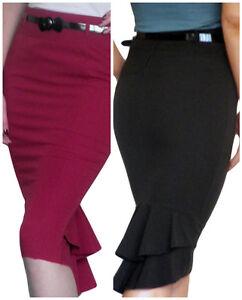 Skirt-Ladies-Bodycon-Plain-Stretch-Womens-New-Pencil-Midi-Size-8-10-12-14-16-18