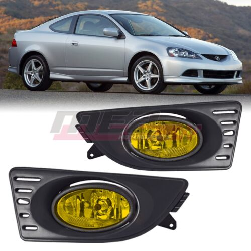 For 2005-2007 Acura RSX Winjet OE Factory Fit Fog Light Bumper Kit Yellow Lens