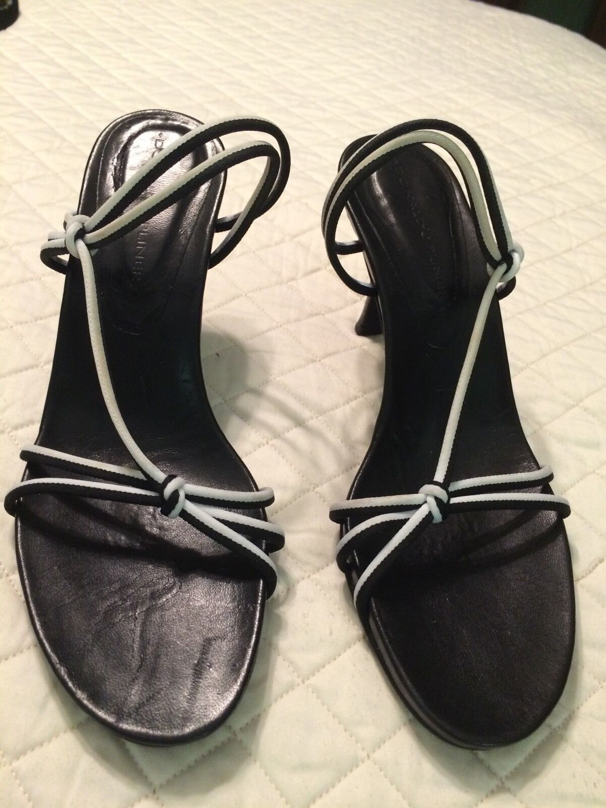 Donald J Plinar Sandal Type Heels. Black And White Stretch Uppers Reduced