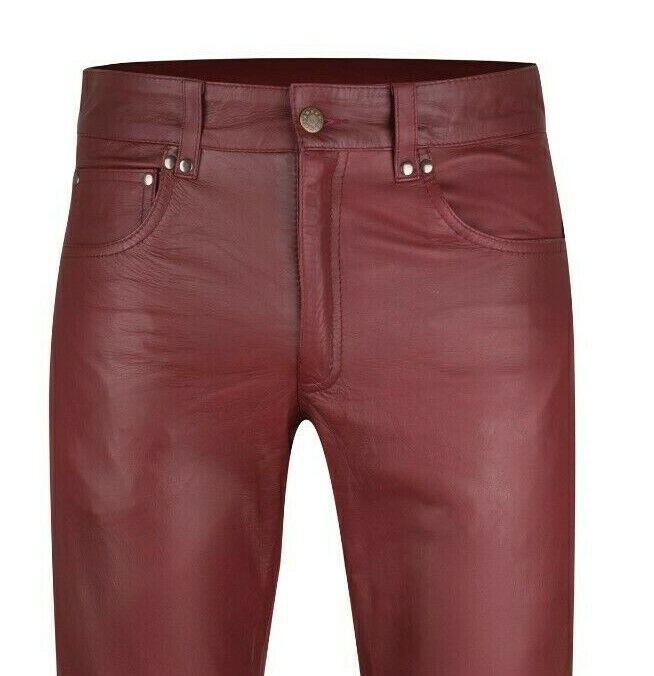 Mens leather jeans burgundy leather pants new trousers Lederjeans bordeaux