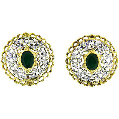 Mario Buccellati Emerald Diamond 18k Gold Earrings