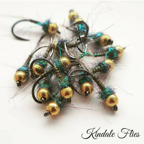 B//L GoldHead Olive Quill Nymph Size 12 Fly Fishing Flies Grayling Set of 3