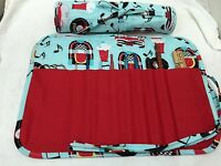 Rock And Roll Music Handmade Quilted Crochet Hook Case / Holder Cotton Fabric
